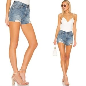 Free People Sofia High Rise Distressed Jean Shorts